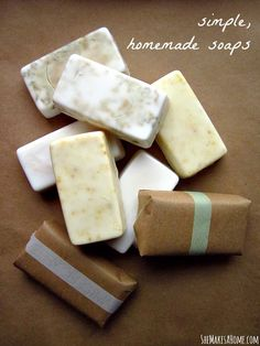 DIY: Simple homemade soaps for gift-giving   peppermint lavender, lavender citrus, and loofah soap