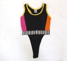Vintage 1980s 90s Thong Bodysuit Leotard Neon Graphic #2: 213c dfd259d2c94dfc