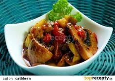 Žampionový salát se zeleninou recept - TopRecepty.cz Good Food, Pork, Low Carb, Meat, Chicken, Ethnic Recipes, Red Peppers, Cooking, Kale Stir Fry