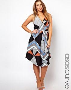 Enlarge ASOS CURVE Exclusive Midi Dress In Scarf Print