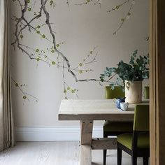 Dining room with wallpaper of de Gournay I Remodelista