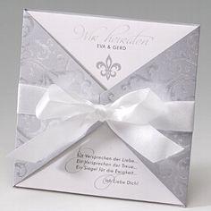 """Hochzeitseinladung """"Ava"""" - mit geprägten Ornamenten in Silber - weddix"""