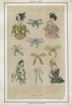Hairstyles, October 1838 (source: Casey Fashion Plates @ LA Public Library)