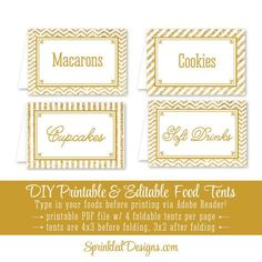 Gold Glitter Printable Party Food Tents - Folding Editable Text Buffet Labels - Name Escort Seating Place Cards - Chevron Stripes Big One