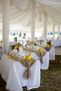 White table clothes, burlap and yellow.  Elegant burlap! - love the burlap!!