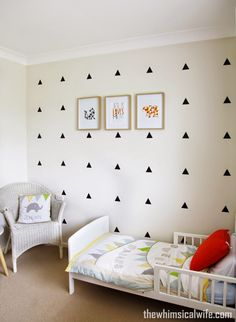 Black Triangle Wall Stickers in little boys room
