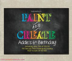 Painting Party Invitation  PRINTABLE  by InvitationCeleb on Etsy, $15.00