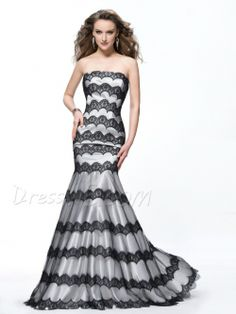 Charming Lace Stripe Strapless Mermaid Floor Length Prom Dress 10899248