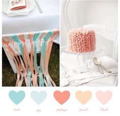 Pink, peach and mint wedding colors