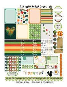 Welcome back for another Freebie Friday Sampler! Here is my contribution to the planner community, using the color scheme for the Erin Condren Life Planner as well as incorporating St. Patricks Day at