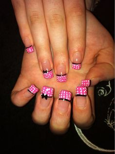 pink and white polka dots with black bows