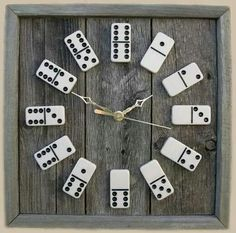 Using old wood, Domino's & a old clock. Love this idea.
