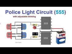 This Police Style Strobe Light Circuit using 555 timer ICs shows the familiar lights used on police cars. To achieve this Police Style Strobe Light Electronic Circuit Projects, Electrical Projects, Arduino Projects, Electrical Wiring, Electrical Engineering, Electronics Basics, Electronics Projects, Simple Electronics, Led Strobe