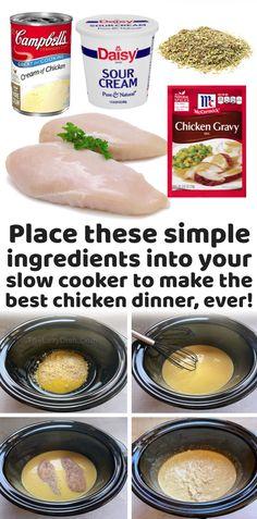 Crockpot Chicken And Gravy, Crockpot Chicken Dinners, Easy Chicken Dinner Recipes, Crockpot Dishes, Crock Pot Cooking, Easy Crockpot Recipes, Cooking Recipes, Easy Healthy Crockpot Meals, Healthy College Meals