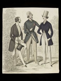 Hand-coloured fashion plate showing men's dress. Three men's outfits for day wear, including a shooting jacket and cap, with a gun. France - 1840's V collection