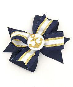 Love this Gold & Navy Anchor Bow Hair Clip on #zulily! #zulilyfinds