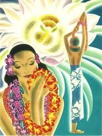 Vintage Menu for S. Luriline, Matson Lines, 1941 ~ Hawaii Hawaiian Art Hula Girls, Leis Hawaiian Woman, Hawaiian Art, Vintage Hawaiian, Aloha Vintage, Hawaiian Leis, Hawaiian Girls, Hawaiian Flowers, Art Deco Illustration, Illustrations Vintage