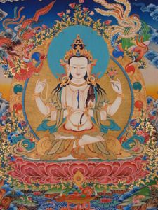 "Avalokitesvara compassion practices can ""enhance treatment of anxiety, depression, trauma"" say some scientists and clinicians. For the rest of us, his compassion brings us closer to bliss and wisdom. Buddhist Symbols, Buddhist Art, Thangka Painting, Buddha Painting, Buddhist Practices, Buddhist Traditions, Anxiety Treatment, Tibetan Buddhism, Parasol"