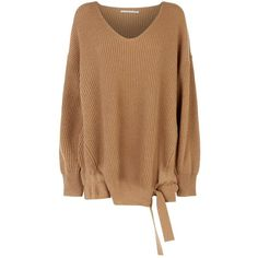 Stella McCartney Gathered Tie Side Sweater ($870) ❤ liked on Polyvore featuring tops, sweaters, beige sweater, fitted sweater, oversized cashmere sweater, v-neck sweater and fitted v neck sweater
