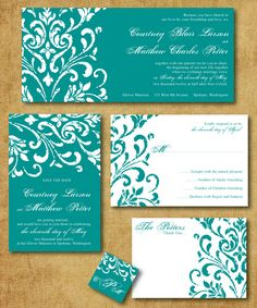 Teal and white scroll wedding invitations