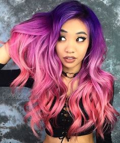 Vibrant pink and purple ombré waves