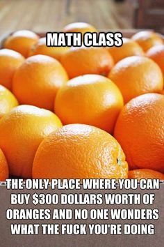 Math Class. Where you can buy 300 dollars worth of oranges and no one wonders what the fuck you're doing.
