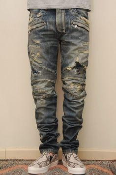 themanhattenproject: destroyed biker denim looks sick. Patched Jeans, Denim Pants, Ripped Jeans, Man Jeans, Moto Pants, Denim Shirts, Skinny Jeans, Trousers, Camouflage