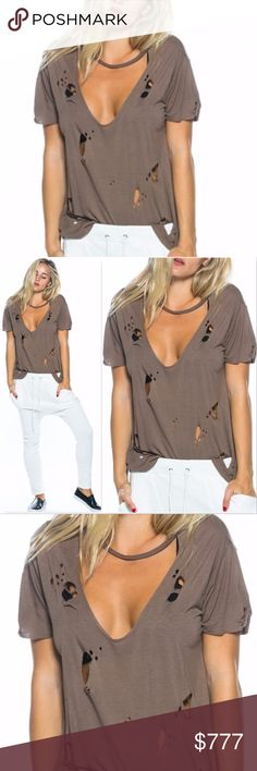 SASSY DISTRESSED CUTOUT TEE CHOKER TOP Brand new  Boutique item  Prices for firm  Bundle to save   MOCHA COLORED ripped / distressed t-shirt . On trend and popular! Pair with JEANS or leggings for a fab and fun look!!   Item is as seen in pics. Model is wearing a size small  Material 100%rayon . Tops Tees - Short Sleeve