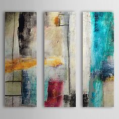 Hand-Painted Abstract Vertical,Modern European Style Three Panels Oil Painting For Home Decoration