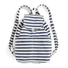 Baggu  Sailor Stripe Front Pocket Backpack : With it's smart features, it's durable enough to carry books and a laptop; lightweight enough for biking or the gym.   -Two front pockets with concealed zippers -Two open front pockets for easy access -Matte silver hardware and tuck clasp closure on flap -Drawstring top closure -Adjustable straps -Interior pocket