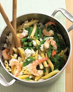 Two steps -- boil and toss -- lead to a pasta with varied tastes and textures from sweet shrimp, fresh mint, creamy feta, and crunchy snow peas.