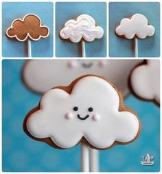 Step by step decorating cloud cookie cinnamon molasses cookies Cookies Cupcake, Iced Cookies, Cute Cookies, Cookies Et Biscuits, Sugar Cookies, Galletas Decoradas Royal Icing, Cookies Decorados, Galletas Cookies, Cookie Pops
