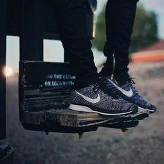 """Love Oreos? Try out the Nike Flyknit Racer 2.0 """"Oreo"""" at kickbackzny.com."""