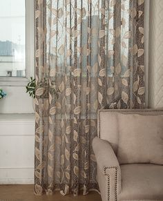 Leaves design sheer curtain panel lace fabric curtain for living room balcony wp101 #15-in Curtains from Home, Kitchen & Garden on Aliexpress.com | Alibaba Group