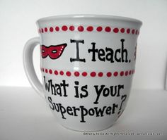Unique Teacher Gift Mug Hand Painted I teach by PromotingSuccess,