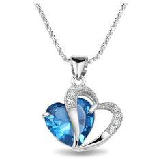 925 Sterling Silver Diamond Accent Amethyst Blue Double Heart Shape Pendant Necklace
