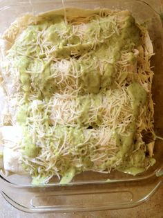 Chicken enchiladas with avocado cream sauce. This sauce is AMAZING. You will not regret trying this recipe!
