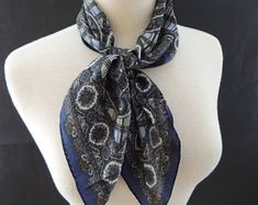 Square Paisley Pattern Silk Scarf made in Japan in Navy Blue, Light Blue Moss Green Colorways Paisley Pattern, Scarfs, Light Blue, Navy Blue, Japan, Silk, Trending Outfits, Unique Jewelry, Green