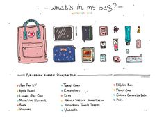 Aesthetic Drawing, Aesthetic Art, Aesthetic Anime, Backpack Drawing, Drawing Bag, College Backpack Essentials, What's In My Backpack, What In My Bag, Unicorn Art