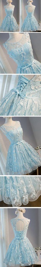 Tiffany Blue Open back Lace Cute Homecoming Prom Dresses, Affordable S – SposaDesses