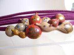 【江月】アンティーク・彫金六瓢箪にクローバーの帯留め_画像1