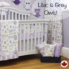 Hooty Lilac Customizable Crib Bedding Set by Sweet Kyla - http://savvymomfinds.com/product/bedding-sets/hooty-lilac-customizable-crib-bedding-set/