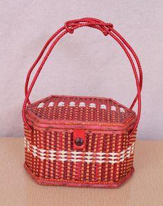 Vintage - 50s/60s - Red & White Stripe - Vinyl - Wicker - Basket Weave - Hand Bag - Purse
