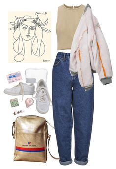 """crescent"" by paper-freckles ❤ liked on Polyvore featuring Topshop, NIKE, Boutique and Calvin Klein Collection"