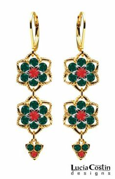 14K Yellow Gold Plated over .925 Sterling Silver Dangle Earrings by Lucia Costin with Sterling Silver 6 Petal Middle Flower, Fancy Charms, Twisted Lines, Red and Green Swarovski Crystals; Handmade in USA Lucia Costin. $84.00. Splendid combination of dangle elements. Beautifully crafted with light siam and emerald - green Swarovski crystals. Unique jewelry handmade in USA. Irresistible dangle earrings by Lucia Costin. Mesmerizing enough to wear on special occasions, but durable ...