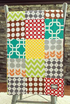 Baby Blanket, Modern Baby Quilt - Geometric Colorful quilt