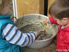 Make mud!  Let the kids try out different measurements of water and dirt to see how to make it: thicker, thinner, etc.