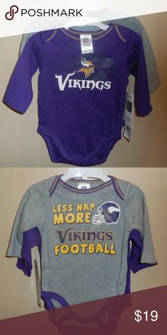 88c6d14071a NFL Team Months 2 Onesies Vikings New Brand new with tags NFL Team Apparel Minnesota  Vikings polyester Long sleeve bodysuits Color: purple/grey Size: months ...