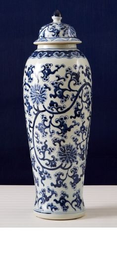Blue and White Lotus Design Covered Tall Temple Jar - Hand-Painted Porcelain Blue And White China, Blue China, Bliss Home And Design, Lotus Design, White Lotus, Chinoiserie Chic, Ginger Jars, Decoration Table, White Decor