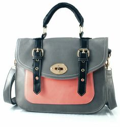 STEPH Bag in Salmon Pink/Grey by Pixie Mood